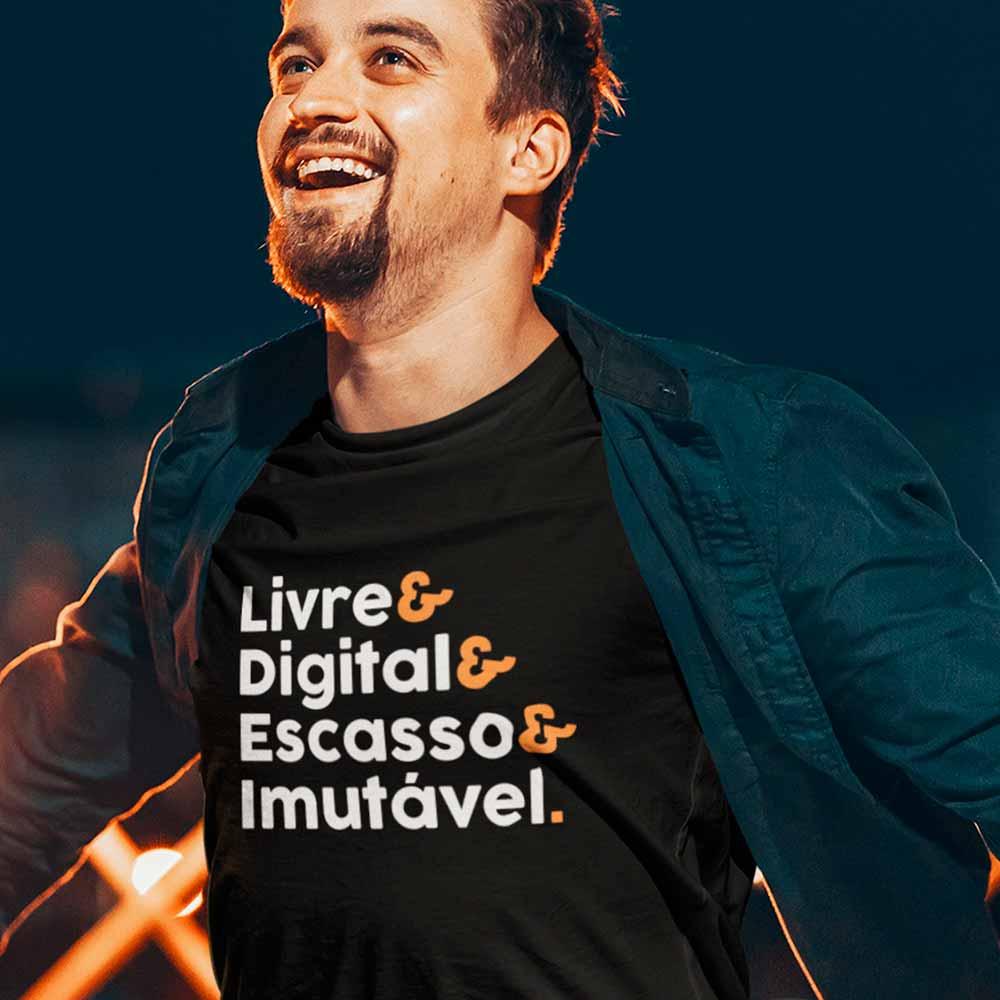camiseta livre digital escasso imutavel criptomoeda