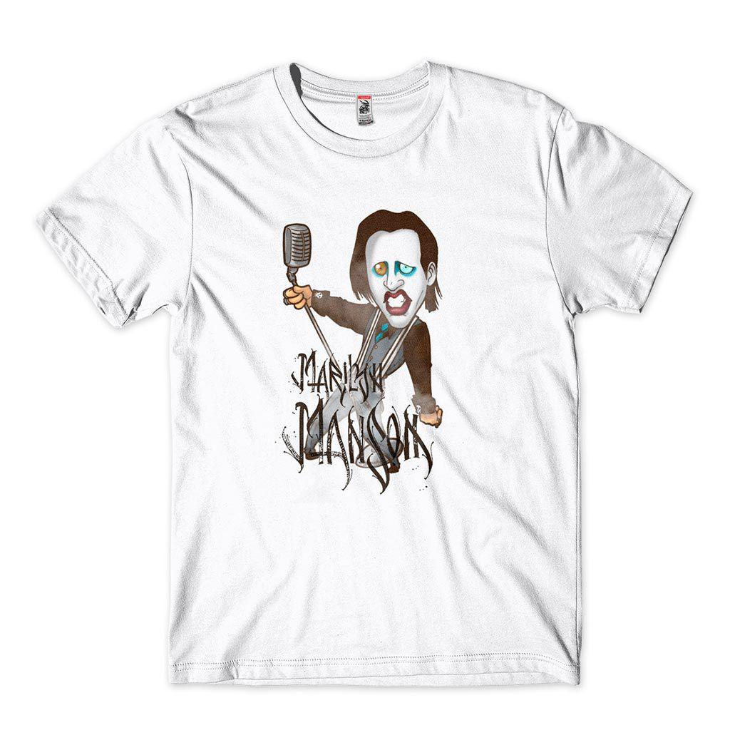 camiseta marilyn manson branca algodao