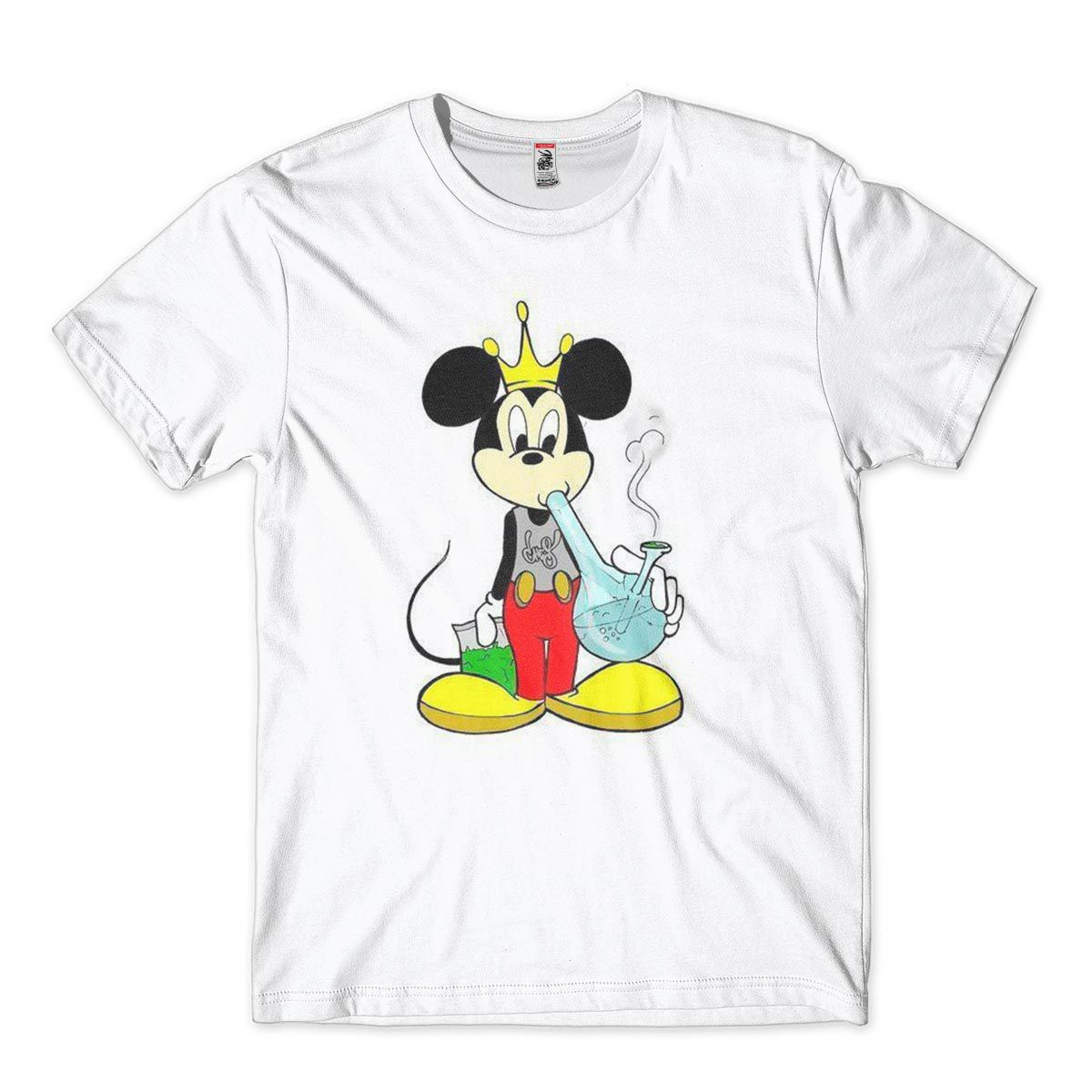 Camiseta Masculina Bong Pipe Cannabis Smoke Satira Mickey