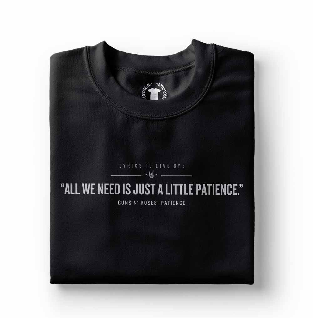 camiseta masculina rock n roll patience