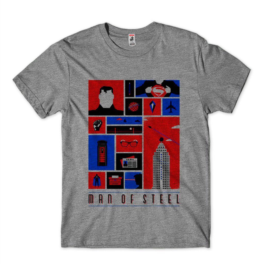 Camiseta Masculina Super Homem Man of Steel Clark Kent Camisa Heróis DC