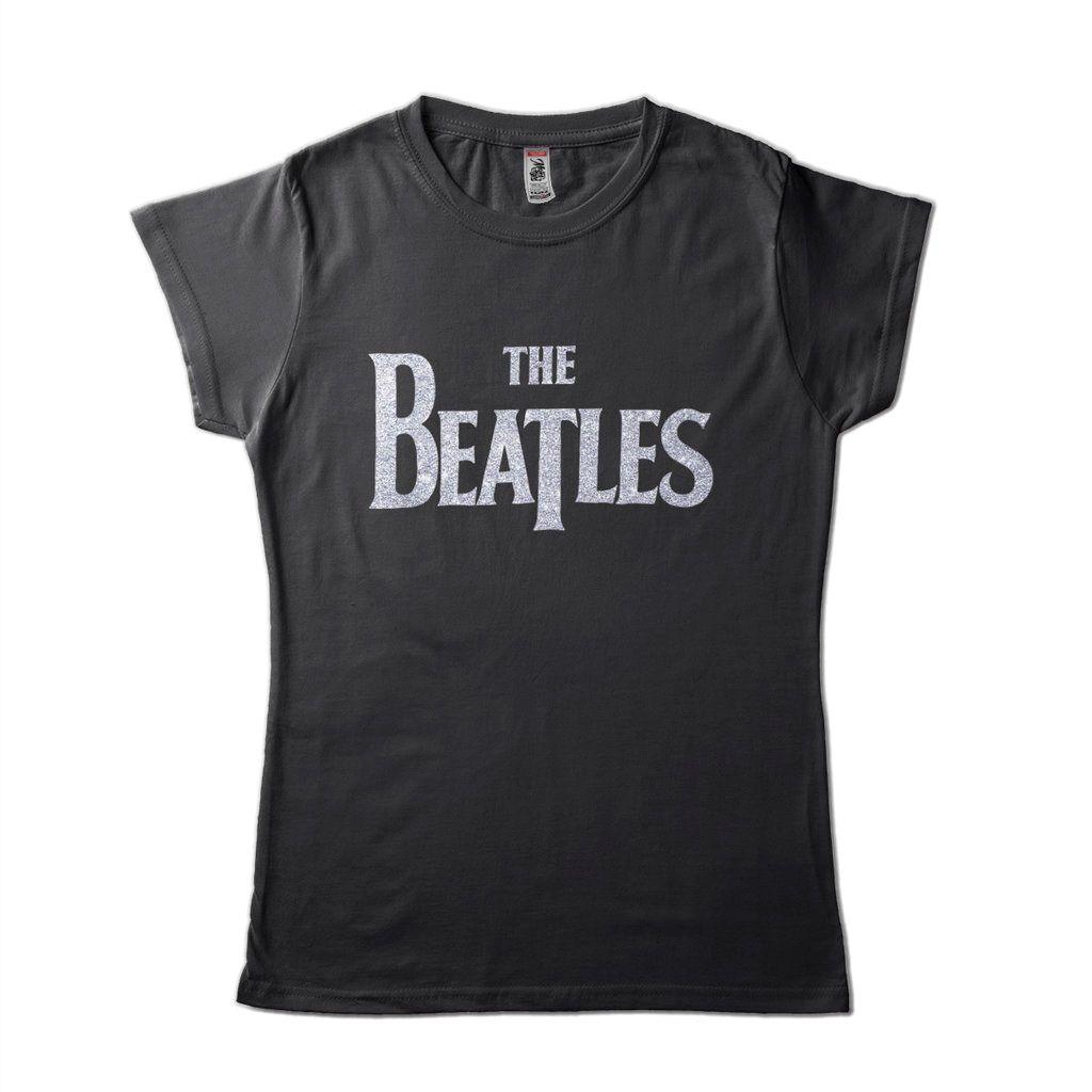 Camiseta Masculina The Beatles Preta Classic Logo Prata