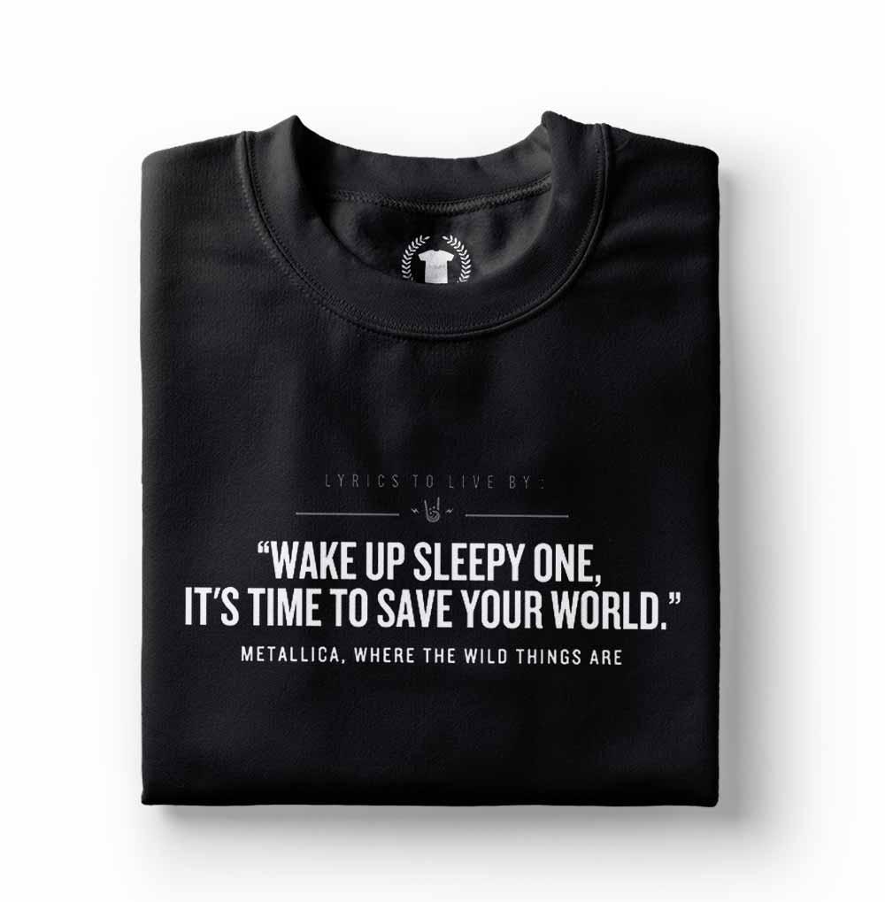 camiseta metallica frases de rock preta