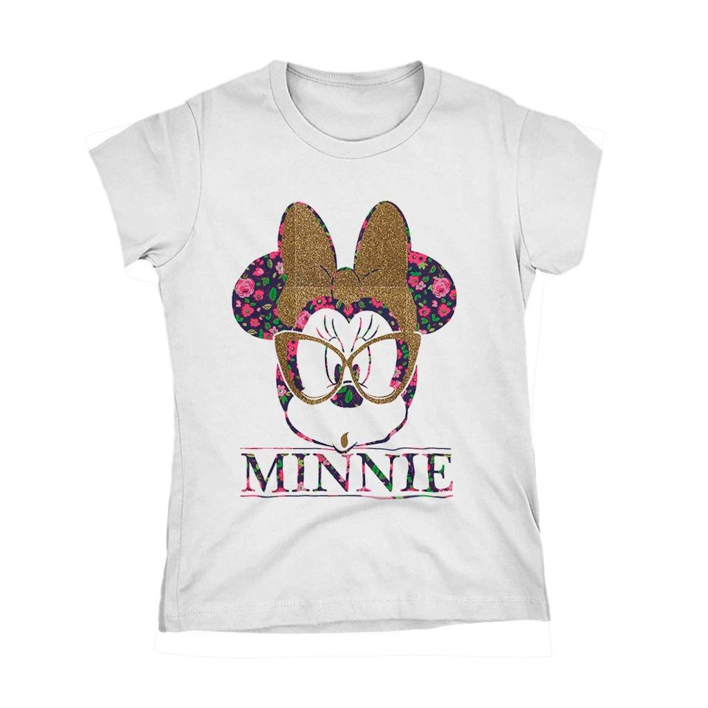 Camiseta Minnie Oculos Nerd Florido Laço Camisa Feminina