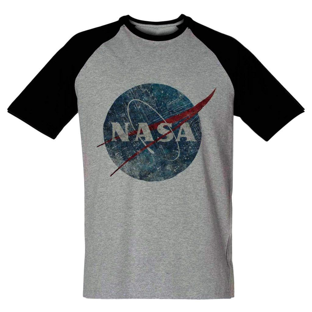 Camiseta Nasa Cinza Masculina Vintage Astronauta Barata