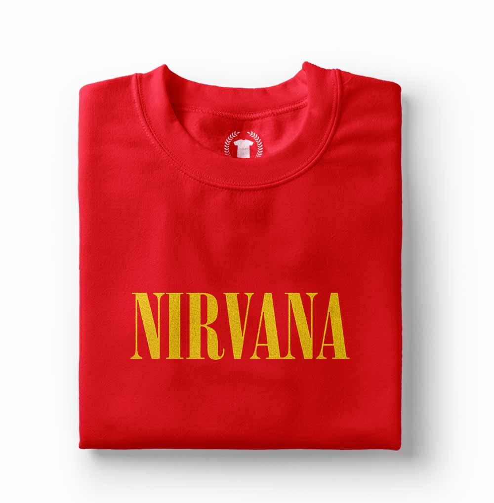 camiseta nirvana logodourada vermelha
