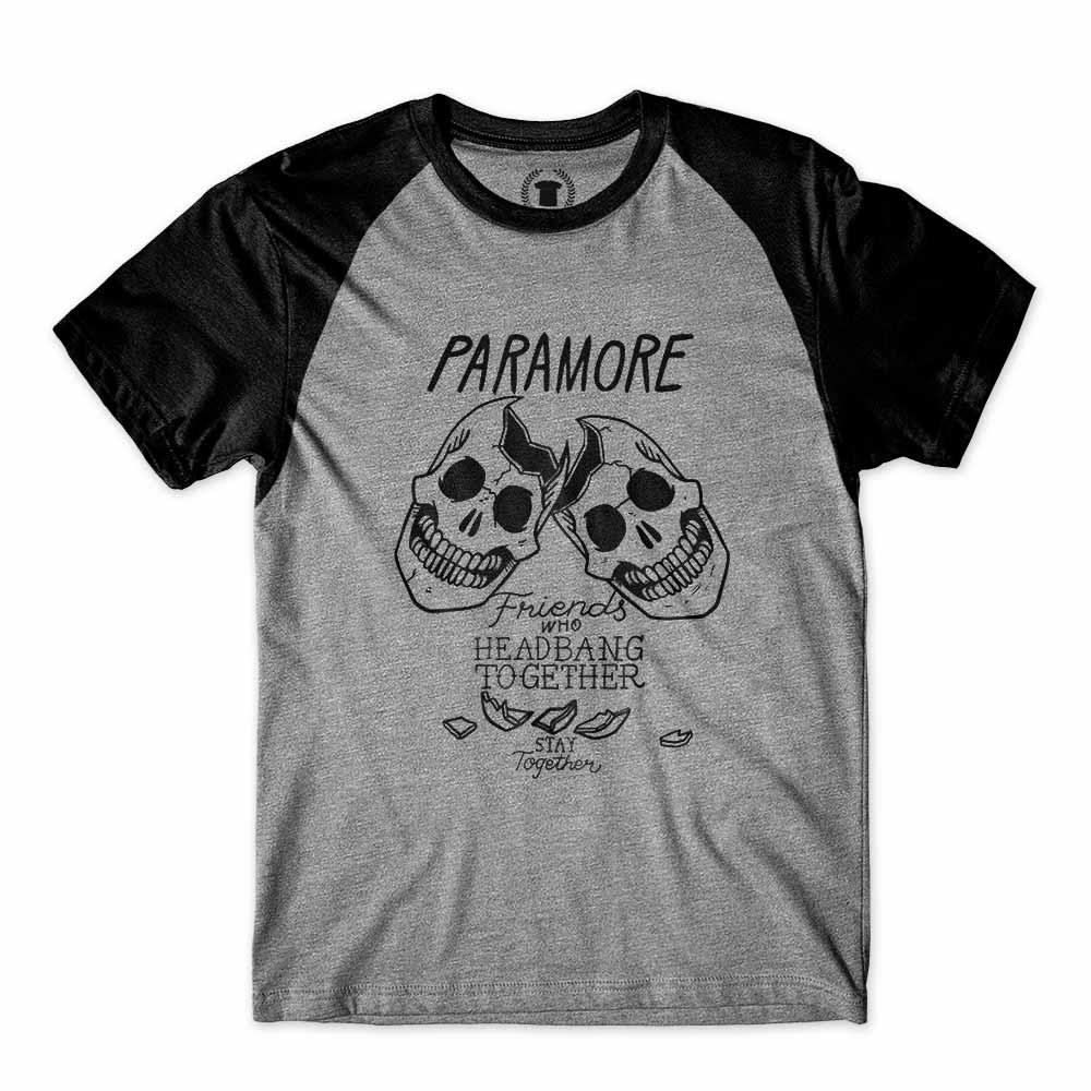 camiseta paramore caveira skull friends heads raglan