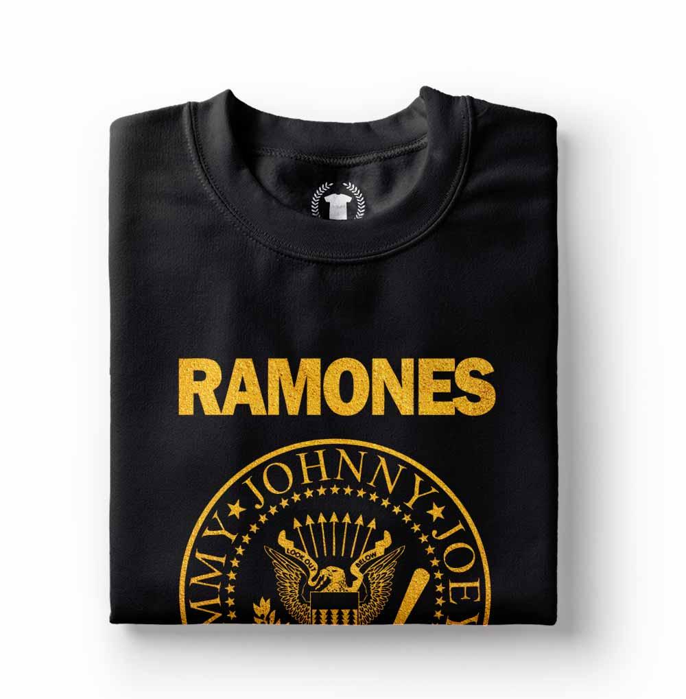 camiseta ramones preta com estampa dourada