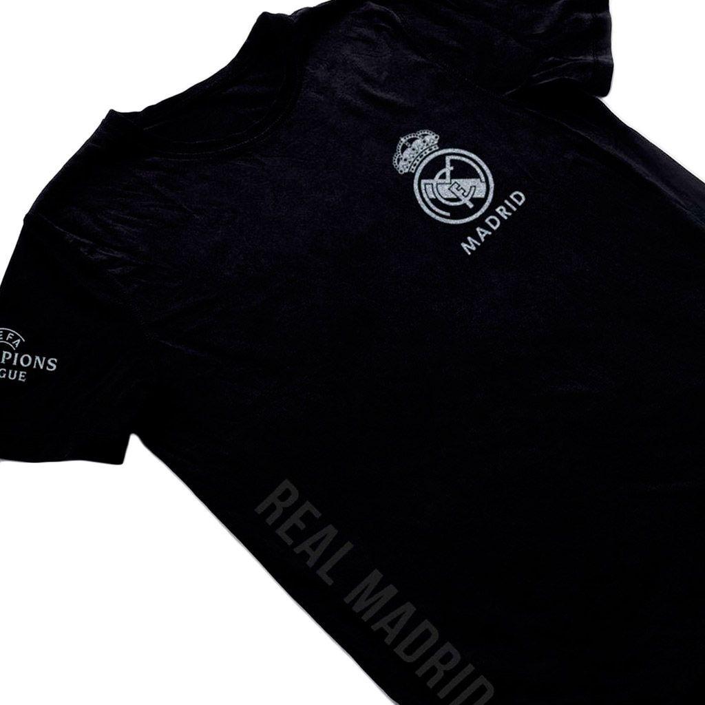Camiseta Real Madrid preta camisa futebol blusa masculina 2019 Dourado