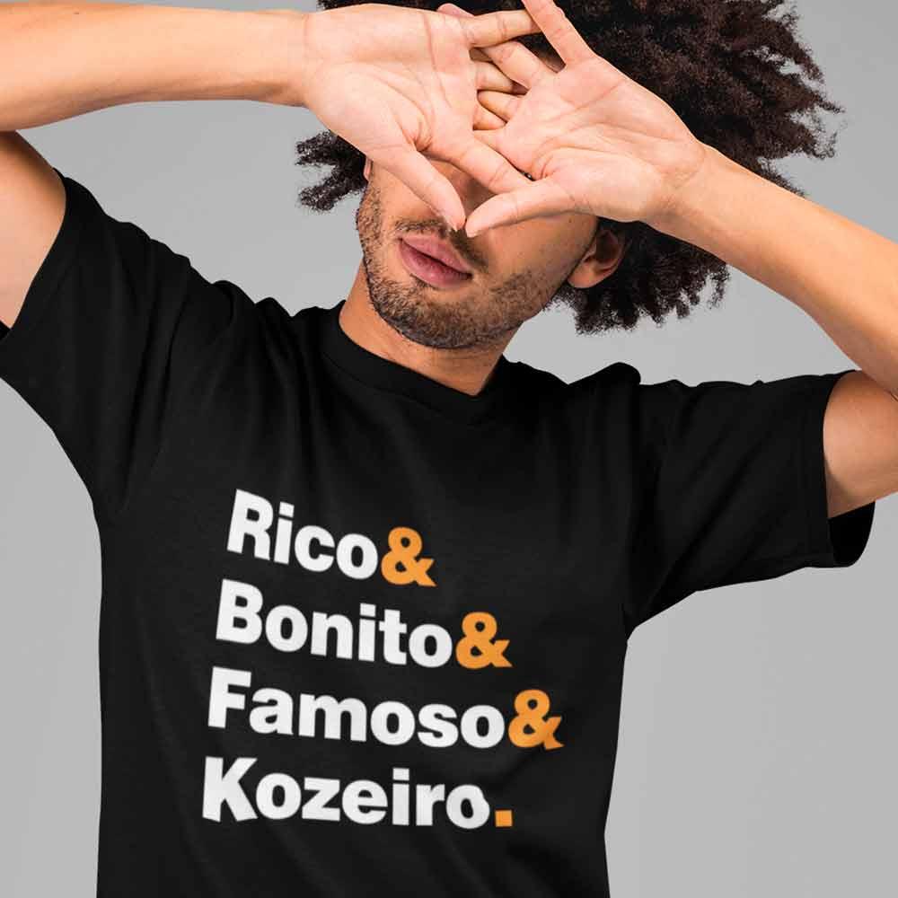 camiseta rico bonito famoso e mentiroso