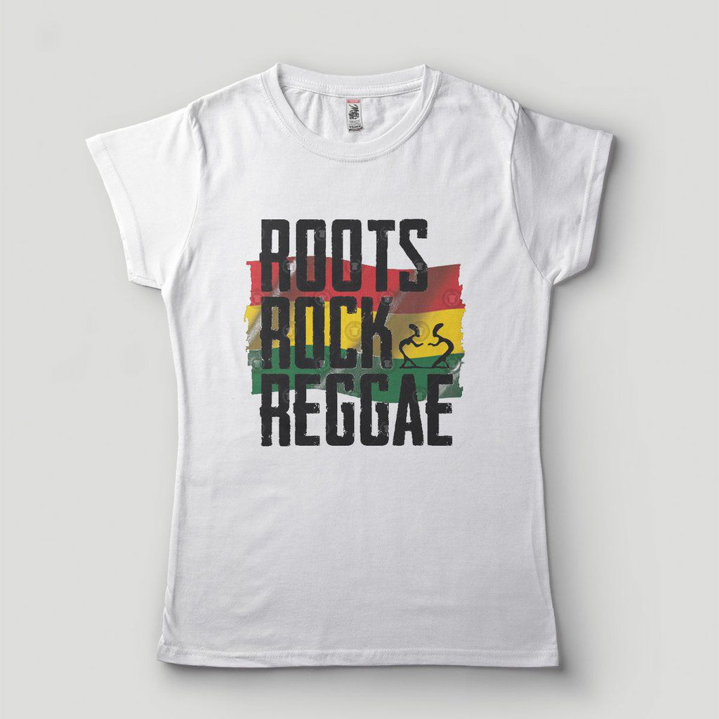 Camiseta Roots Rock Reggae Preta feminina Bob Marley