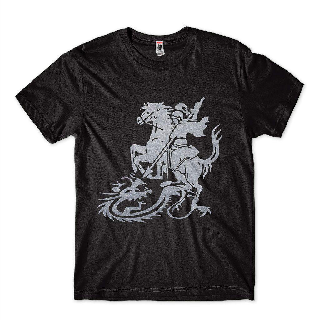 Camiseta Sao Jorge Com Brilho Prateada Camisa Masculina