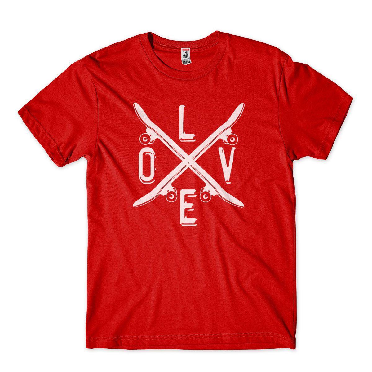 Camiseta Skatista Vermelha Masculina