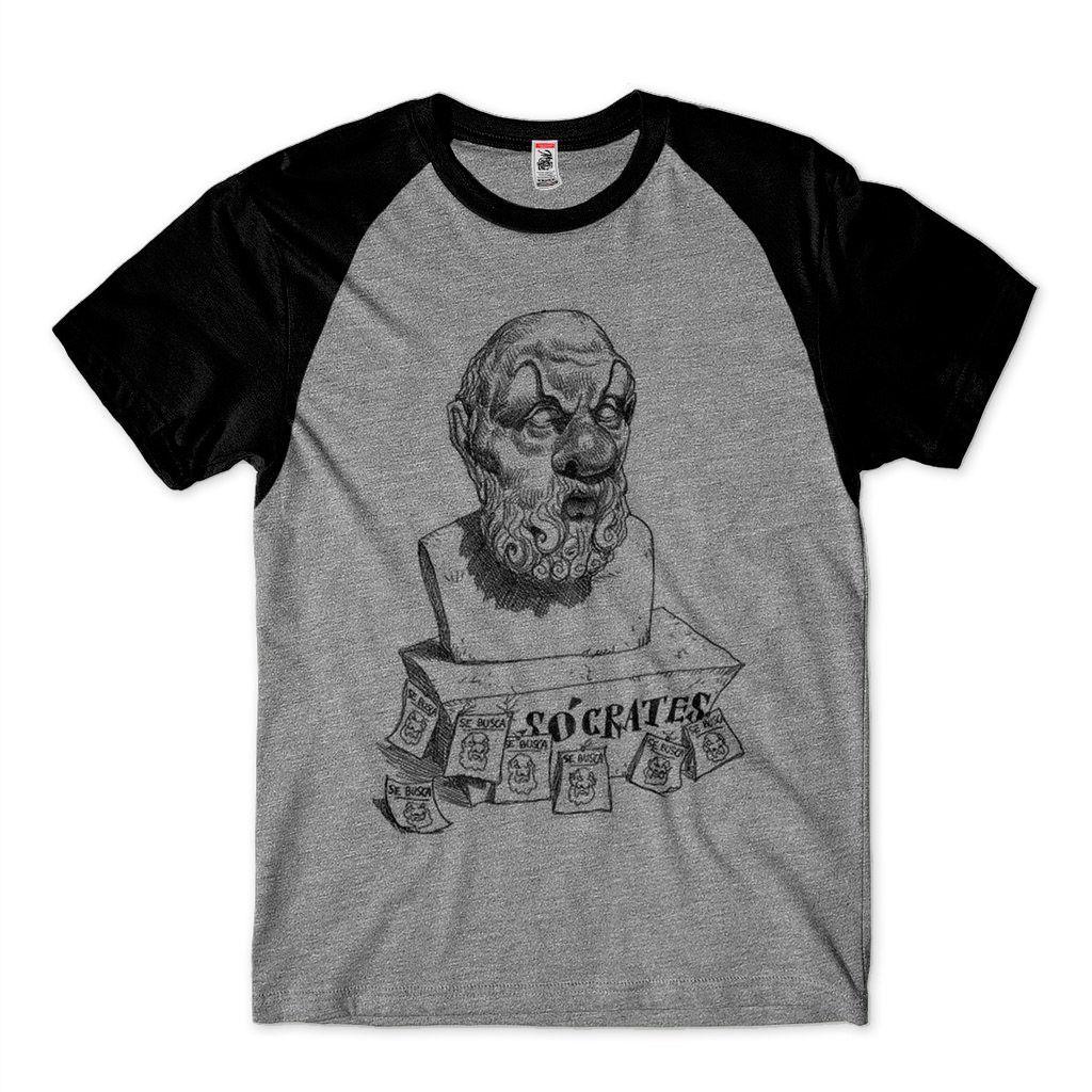 camiseta socrates camisa filosofica caricatura raglan