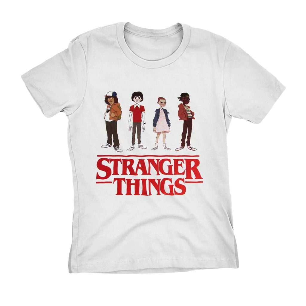 Camiseta Stranger Things Personagens Camisa Blusa Feminina