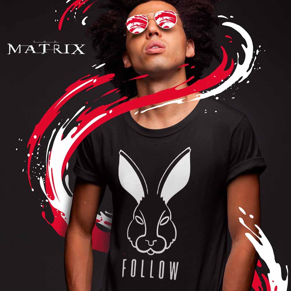 camiseta the matrix siga o coelho branco