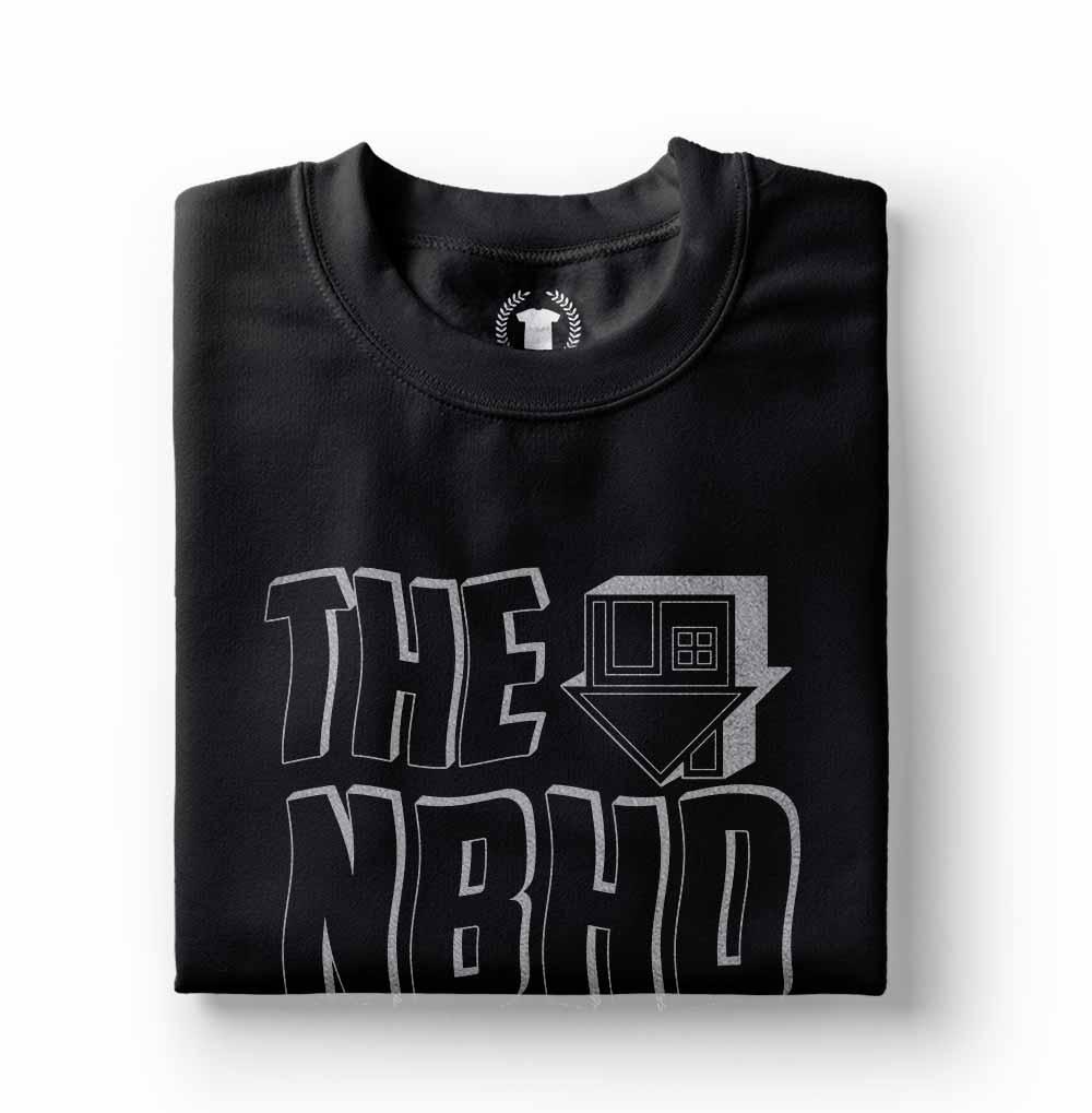 camiseta the neighbourhood estampa prateada preta