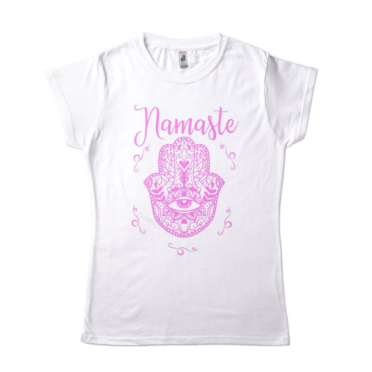Camiseta Yoga Feminina Namasté Hamsá Mão de Fátima Rosa