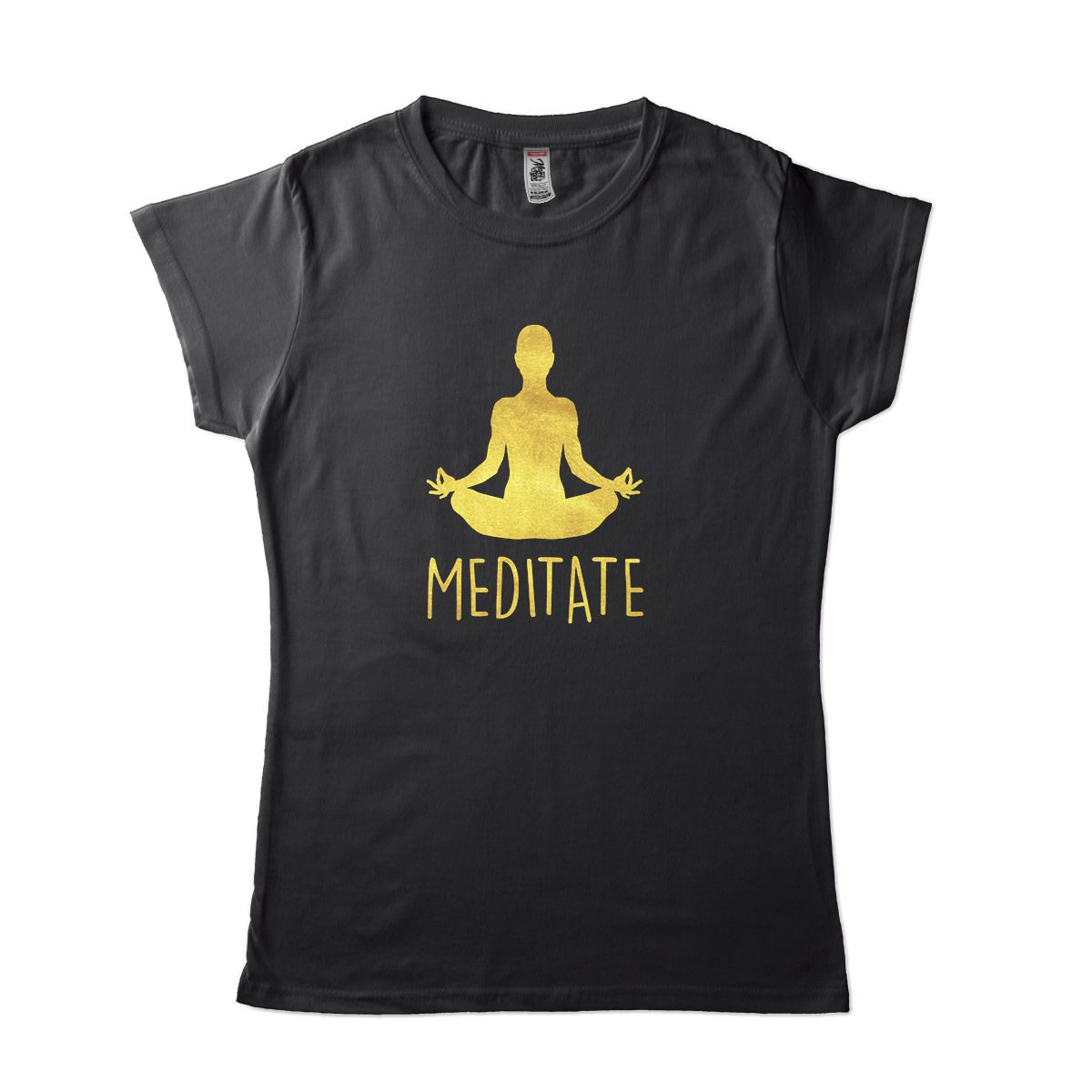 Camiseta Yoga Meditação Feminina Preta Dourada
