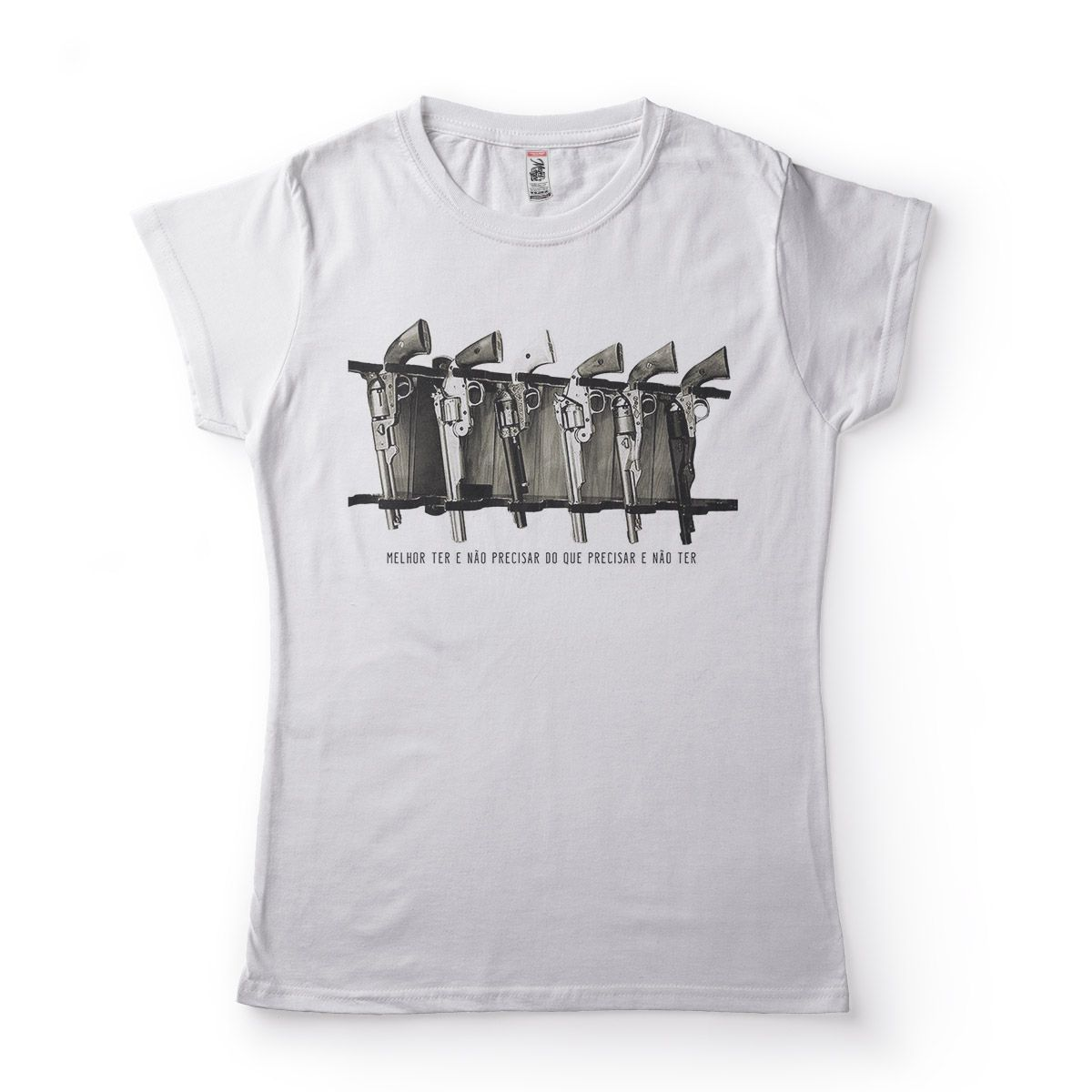 camisetas armas de fogo fora da lei feminina  Branco