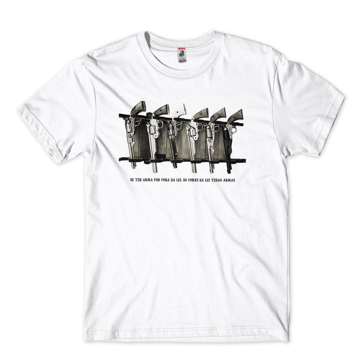 camisetas armas de fogo fora da lei masculina  Branco