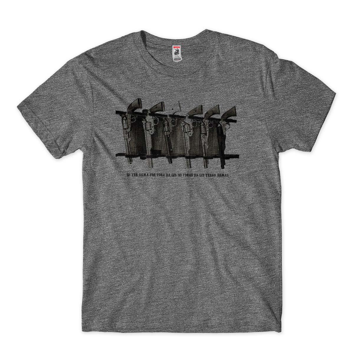 camisetas armas de fogo fora da lei masculina  Cinza