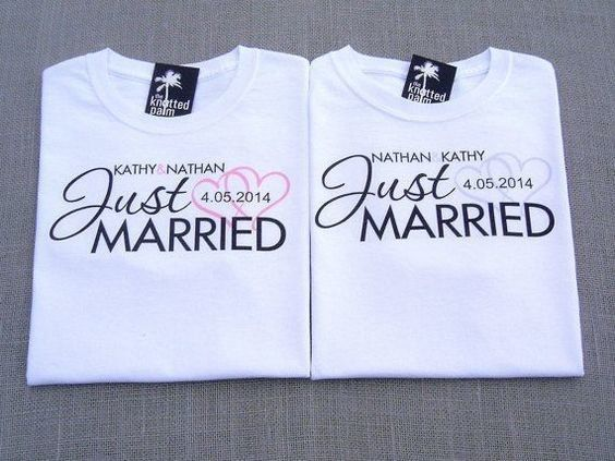 kit camisetas para casamento just married noivo e noiva