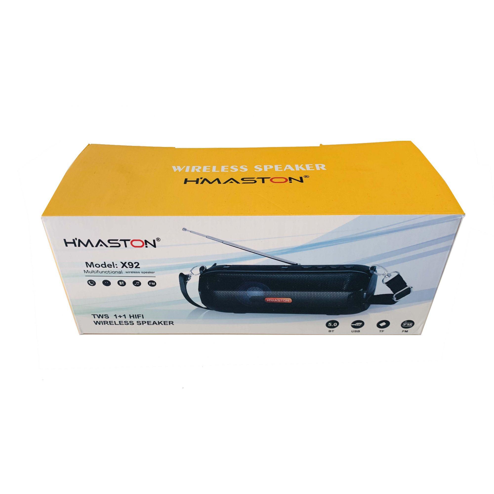 Caixa de som Bluetooth  Hmaston X92 com FM