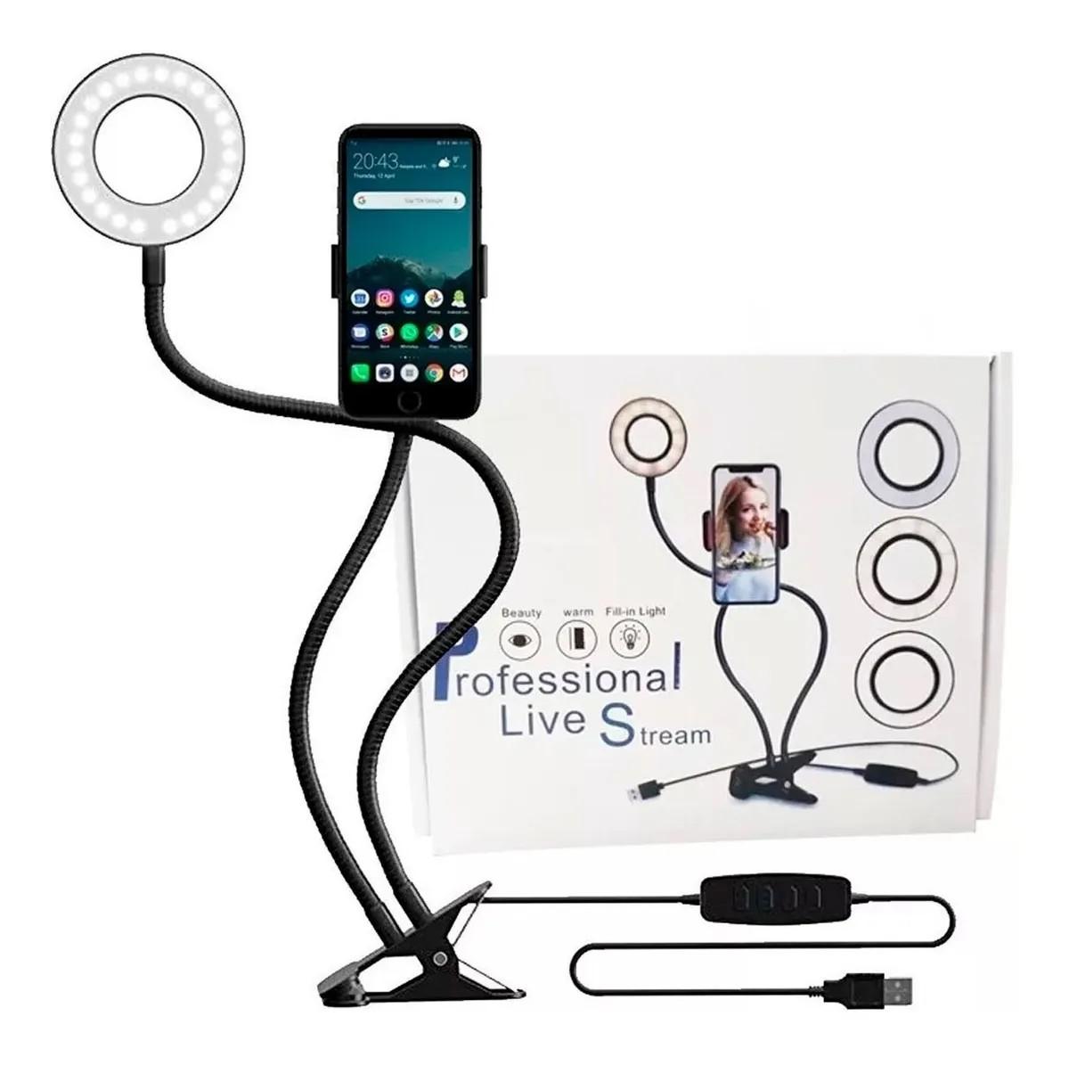 Iluminador Ring Light Suporte Live Stream Celular \ Controle