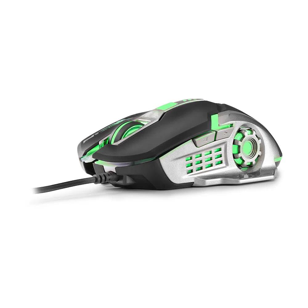 Mouse Gamer Multilaser 2400DPI 6 Botões Grafite/Preto - MO269