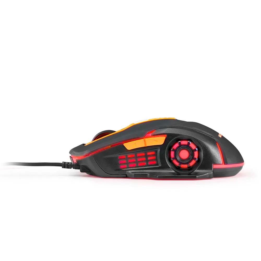 Mouse Gamer Multilaser 2400DPI 6 Botões Preto/Laranja - MO270