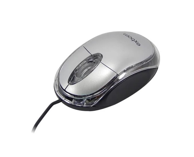 Mouse Óptico Com Fio E Led Azul 1000dpi USB Exbom