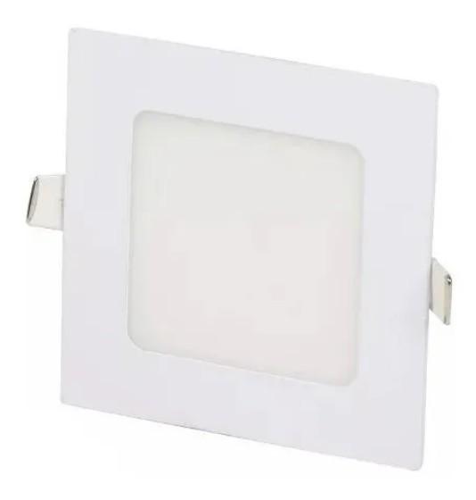 Plafon embutir 12W 3500K Quadrado Branco quente com vidro fosco temperado