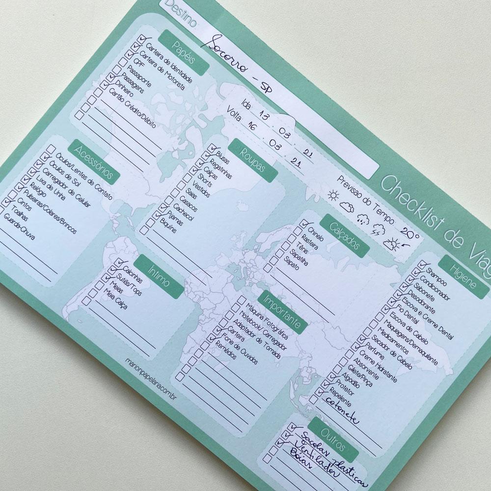 Bloco Checklist de Viagem
