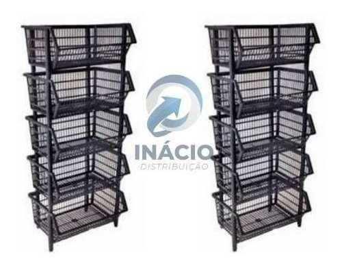 10 Pçs Cesto Empilhável Expositor Organizador Plastico Preto