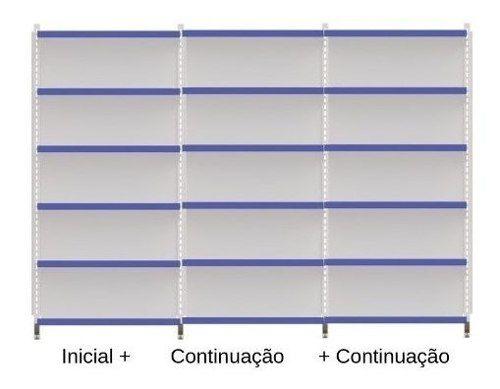Gôndola Prateleira De Parede 2 Inicial + 3 Cont 2metros