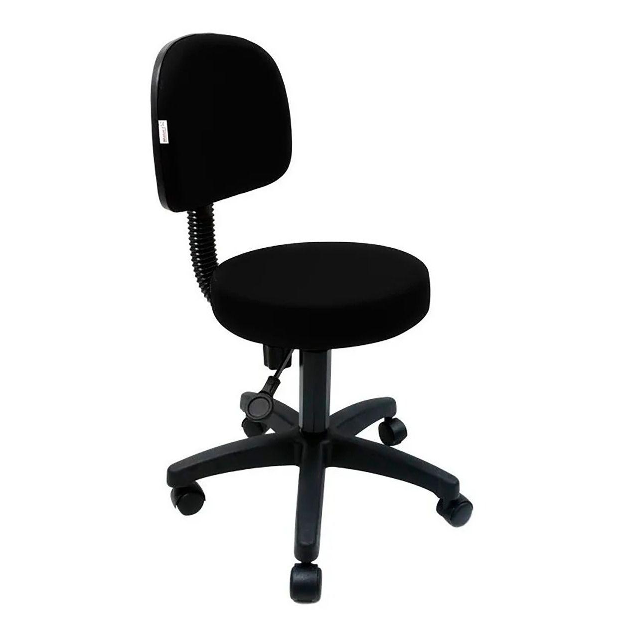 Cadeira Mocho Base Secretária C/Sefir - Encosto Grande (Preta)