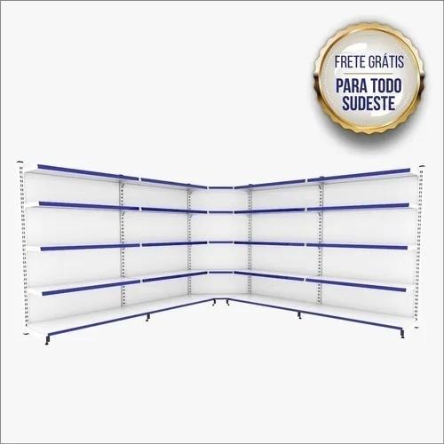 GÔNDOLA DE PAREDE 2 INICIAIS + 4 CONTIN. + 2 CANTOS 1,70 M C/F