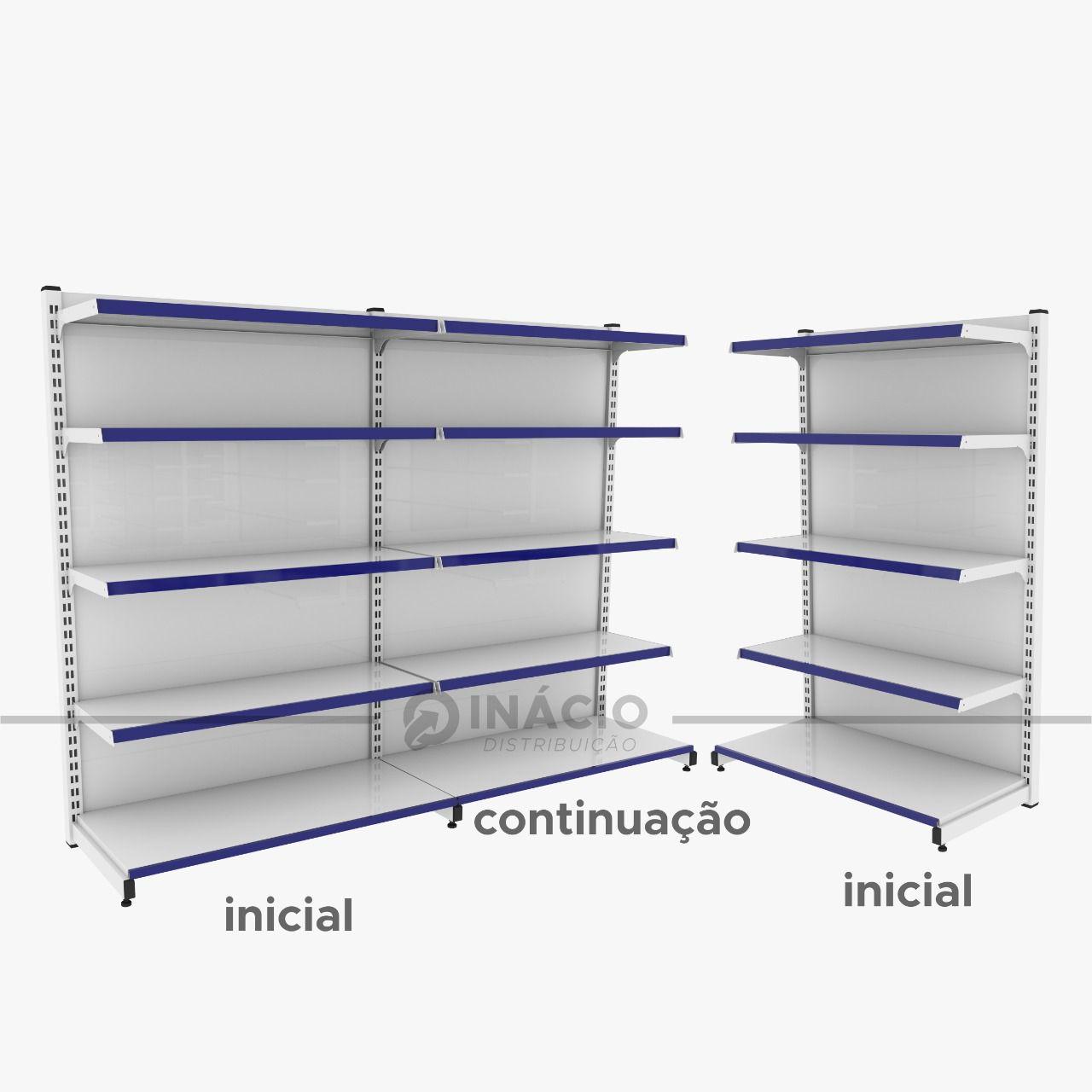 Gôndola Prateleira De Parede 2 Inicial + 1 Continuação 1,60 m C/F