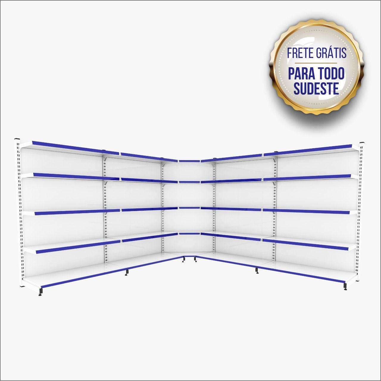 Gôndolas Prateleiras De Aço 2 Inicial+3cont+1canto 1,70m
