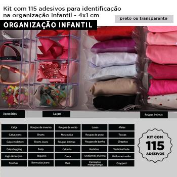 Kit com 115 etiquetas adesivas para identificação + 15 extras para preencher  - ORGANIZAÇÃO INFANTIL - 4x1 cm - Preto ou Transparente
