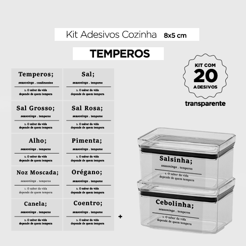 20 Adesivos para potes de cozinha -  FARINHAS - Transparente -  8x5 cm
