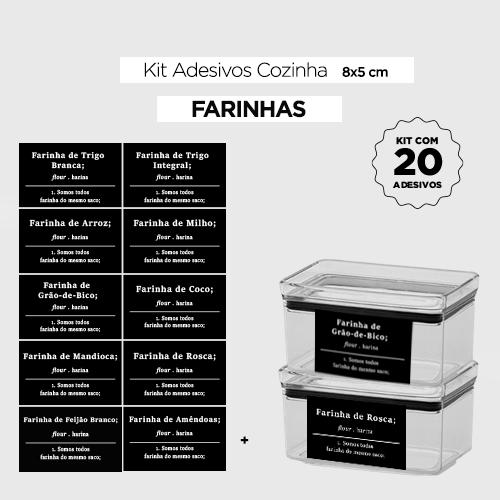 20 Adesivos para potes de cozinha -  FARINHAS - Preto -  8x5 cm