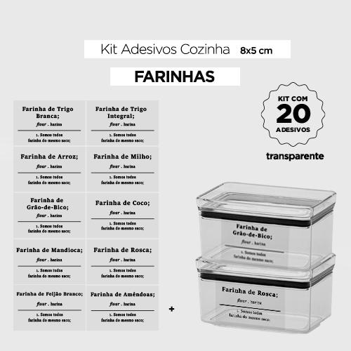 20 Adesivos para potes de cozinha - FARINHAS  - Etiquetas 8x5 cm