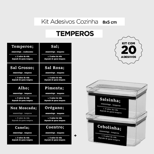 20 Adesivos para potes de cozinha - TEMPEROS  - Etiquetas 8x5 cm