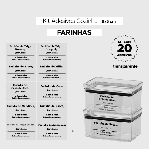 20 Adesivos para potes - FARINHAS - Transparente - 8x5 cm