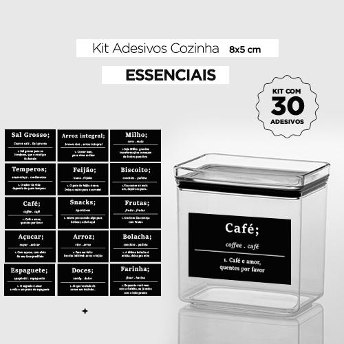 30 Adesivos de potes para cozinha - ESSENCIAIS - Preto - 8x5 cm