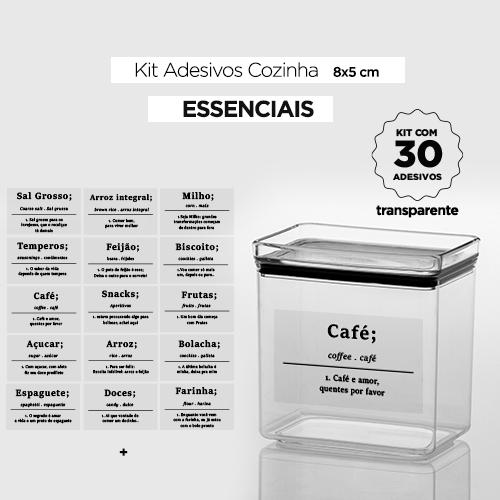 30 Adesivos de potes para cozinha - ESSENCIAIS - Transparente - 8x5 cm