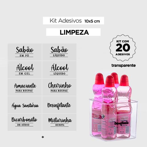 30 Adesivos para potes - LIMPEZA/PET - Transparente - 10x5 cm