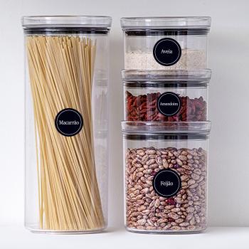 30 Adesivos redondos para cozinha - Preto - 4 cm